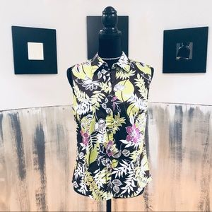Charter Club Brown Tropical Print Sleeveless Top
